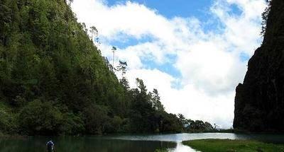 Laguna de Magdalena en Huehuetenango, ruta de bicicleta de montaña